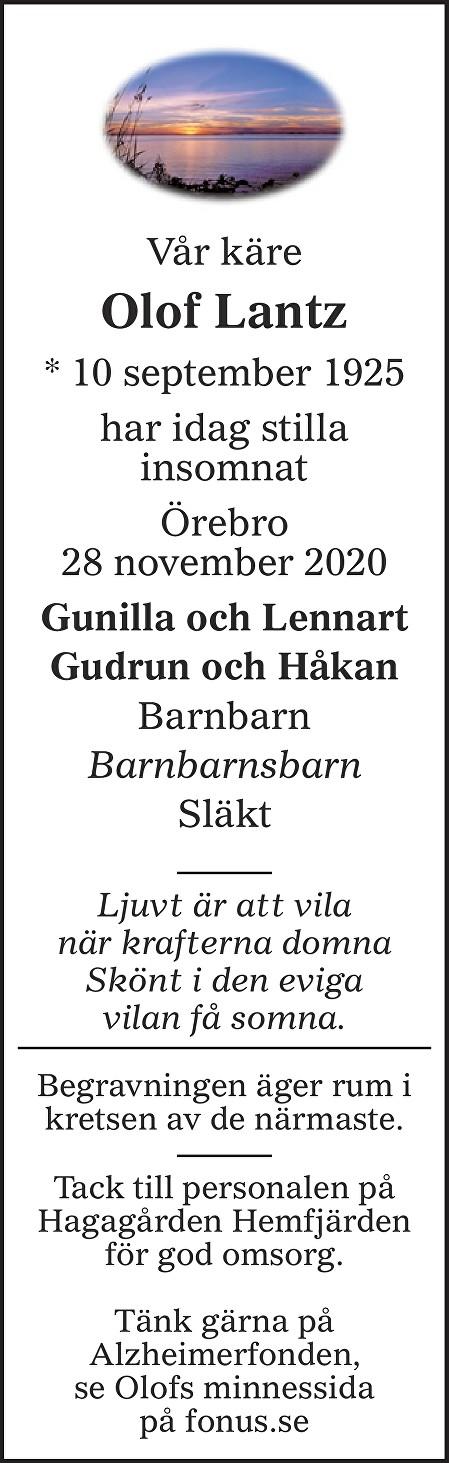 Olof Lantz Death notice