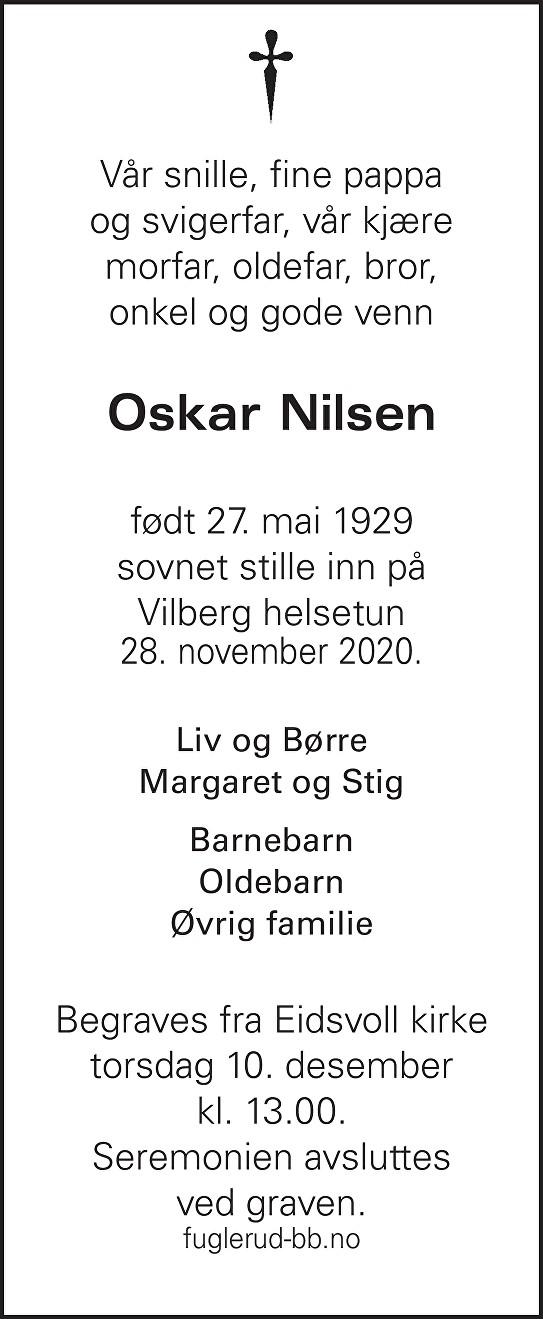 Oskar Nilsen Dødsannonse
