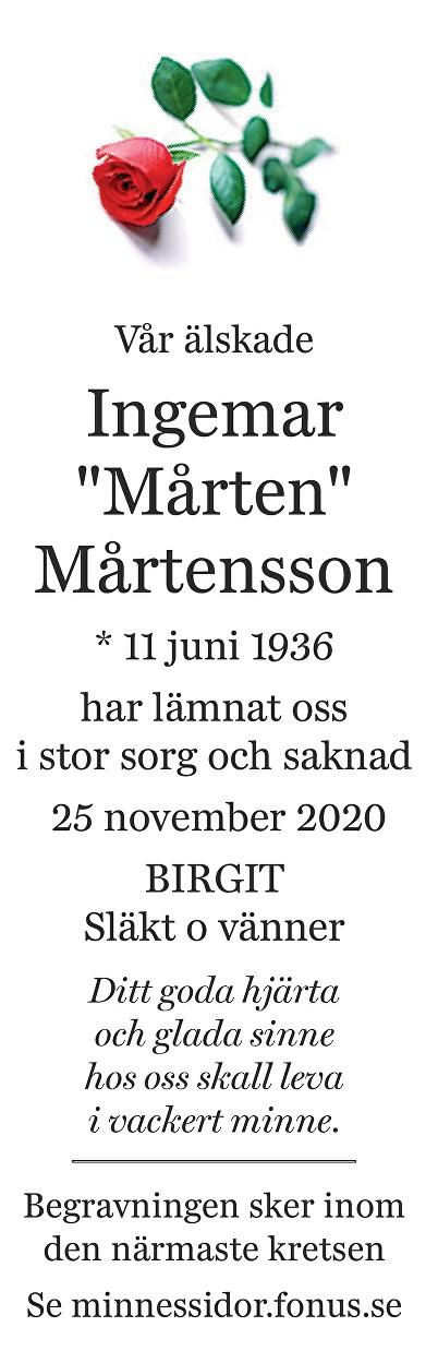 Ingemar Mårtensson Death notice