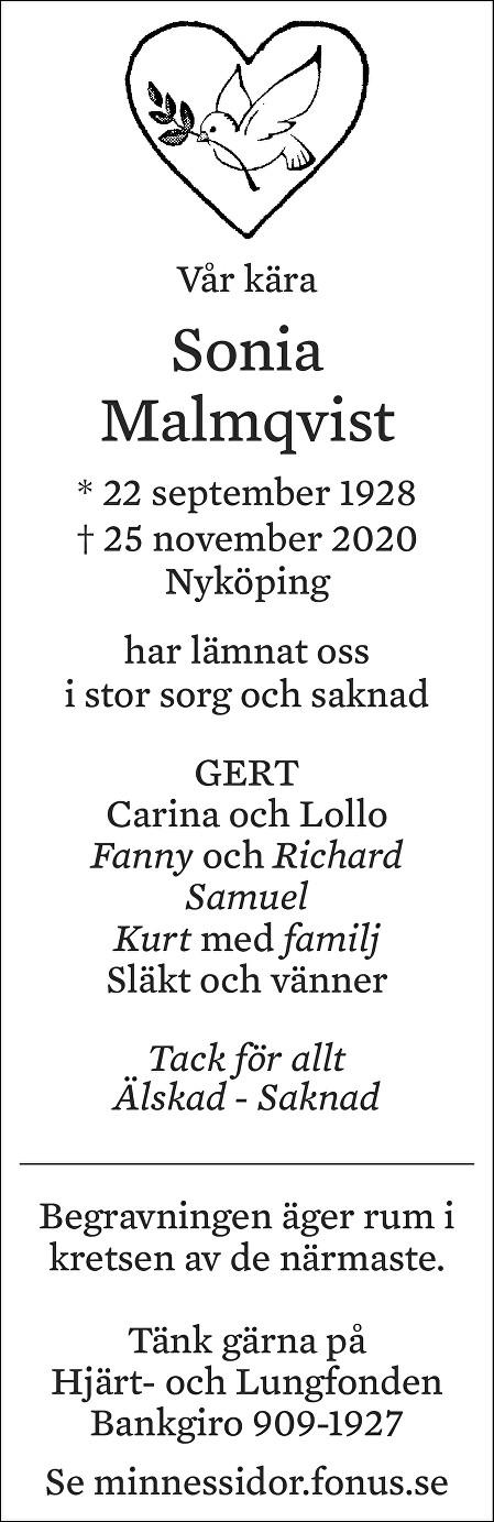 Sonia Malmqvist Death notice