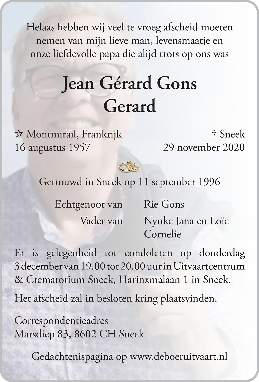 Gerard Gons Death notice