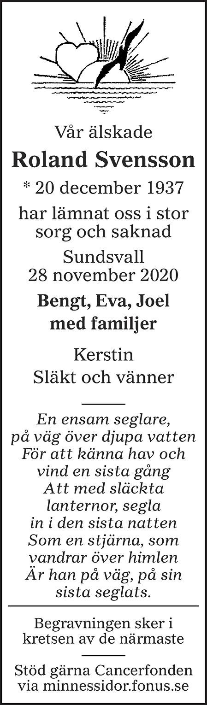 Roland Svensson Death notice