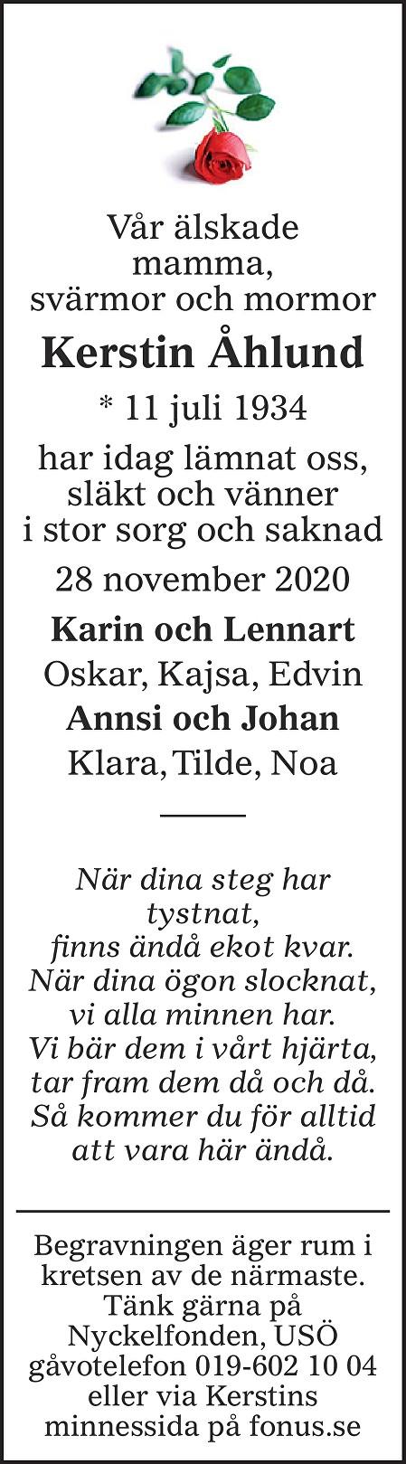 Kerstin Åhlund Death notice