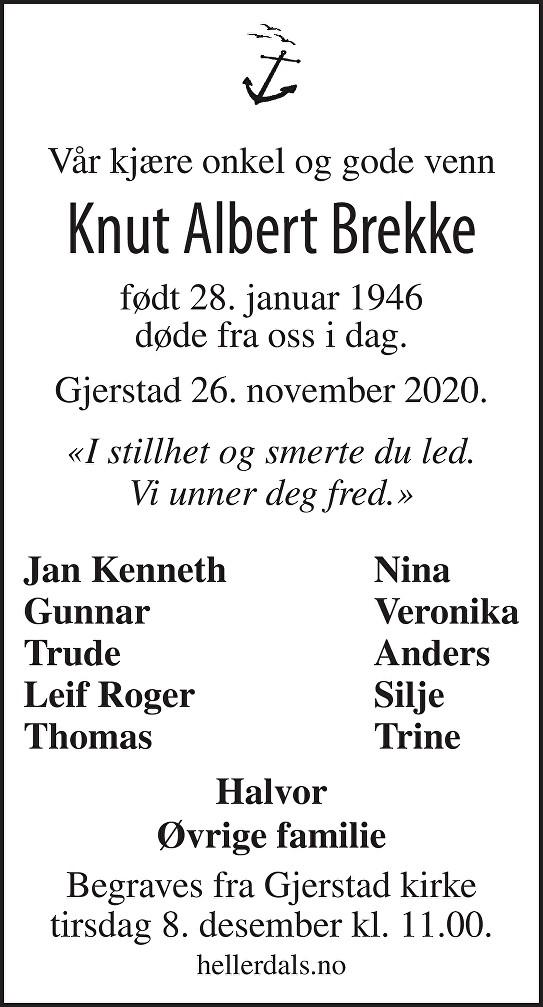 Knut Albert Brekke Dødsannonse