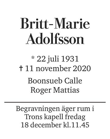 Britt-Marie Adolfsson Death notice