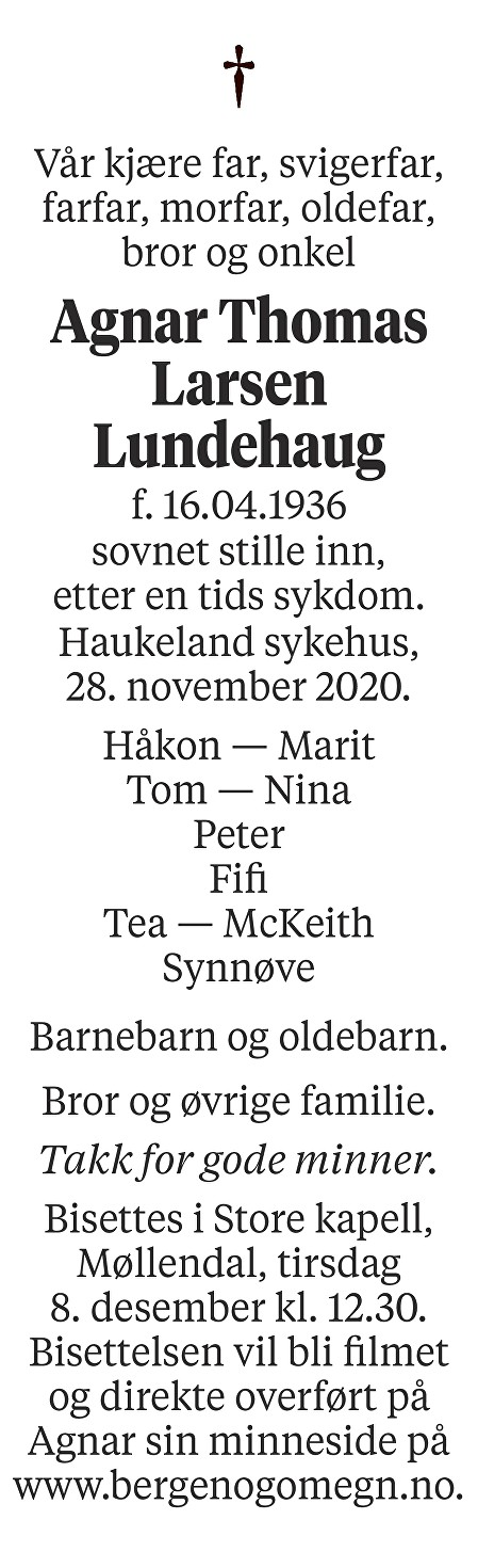 Agnar Thomas Larsen Lundehaug Dødsannonse