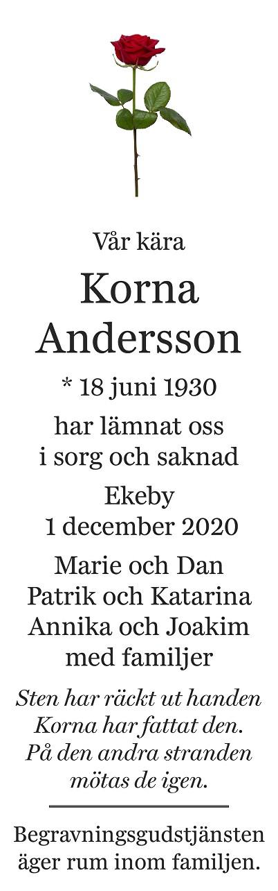Korna Andersson Death notice
