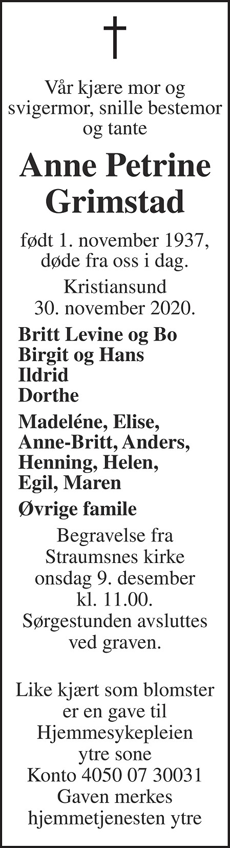 Anne Petrine Grimstad Dødsannonse
