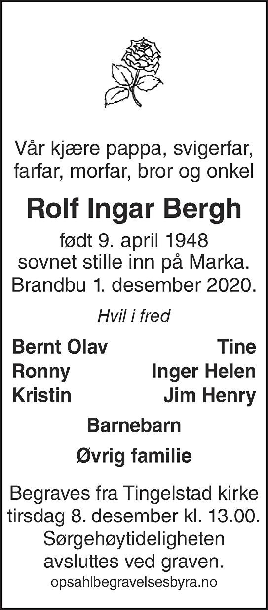Rolf Ingar Bergh Dødsannonse