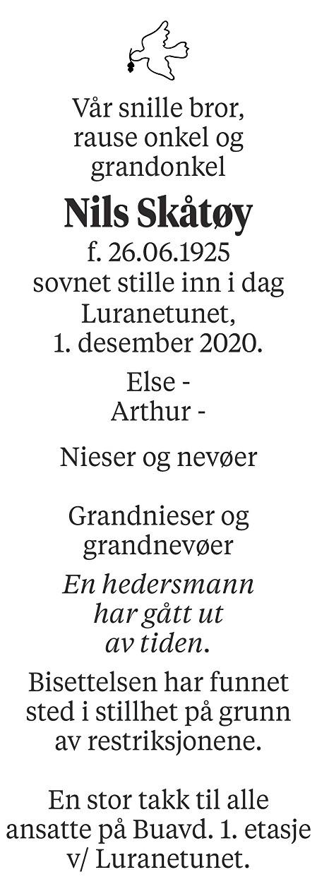 Nils Skåtøy Dødsannonse