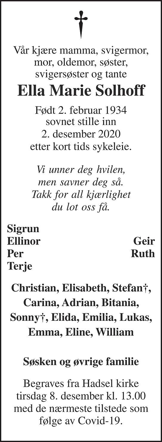 Ella Marie Solhoff Dødsannonse