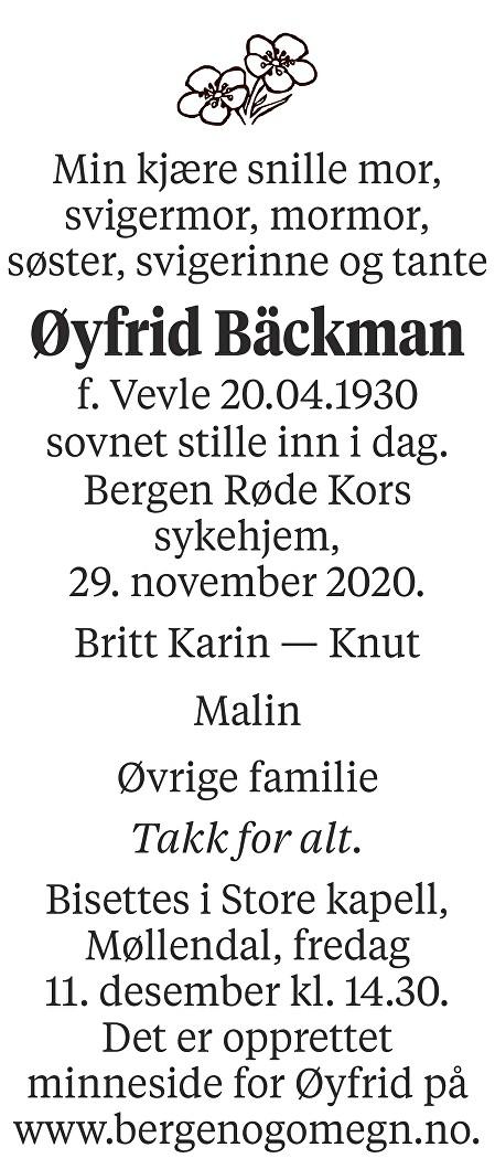 Øyfrid Bäckman Dødsannonse
