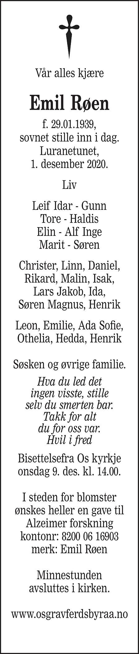 Emil Røen Dødsannonse