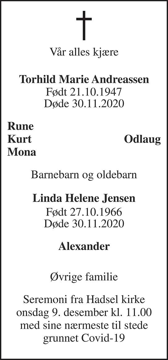 Torhild Andreassen Dødsannonse