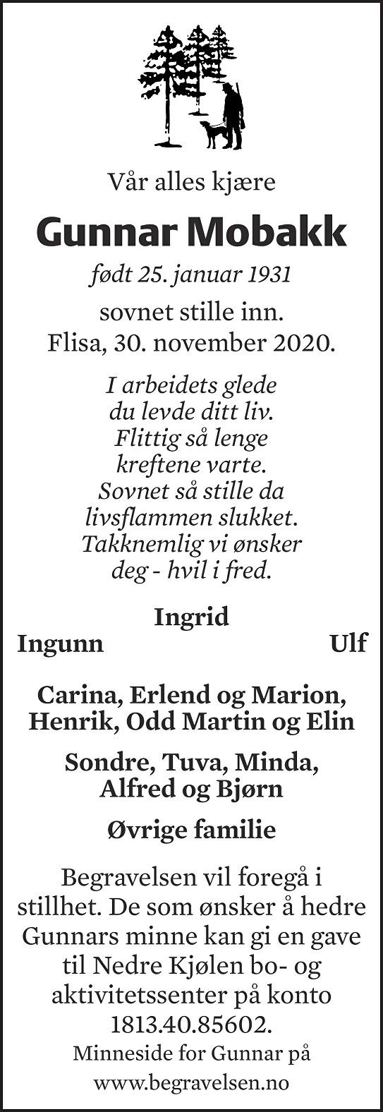 Gunnar Mobakk Dødsannonse