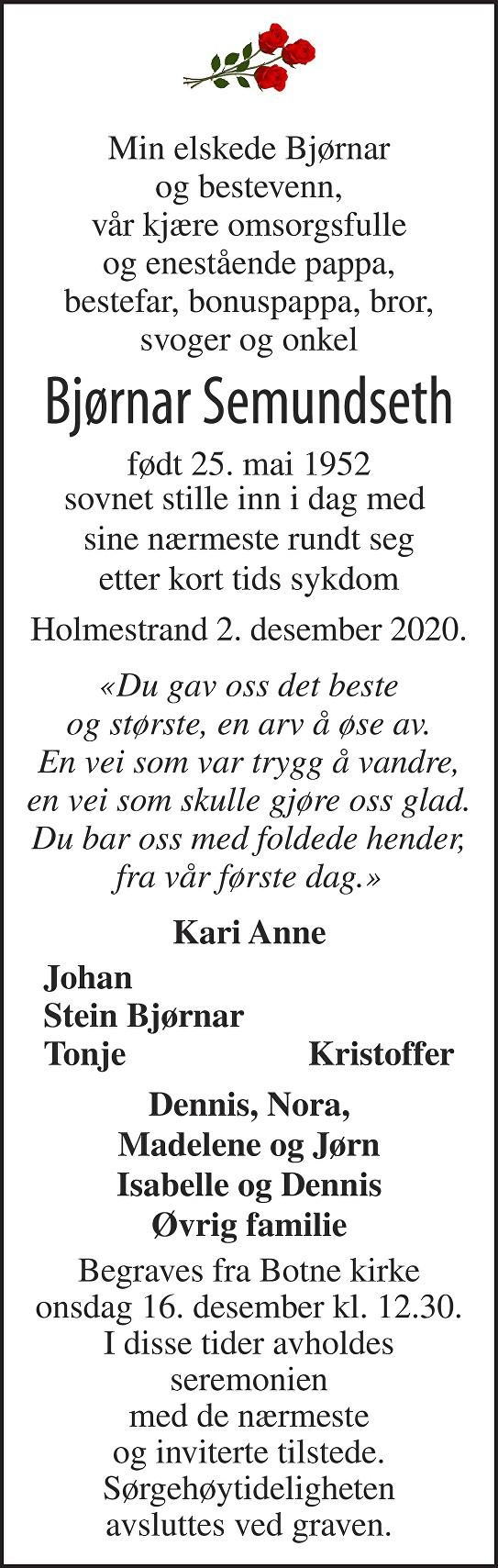 Bjørnar Semundseth Dødsannonse