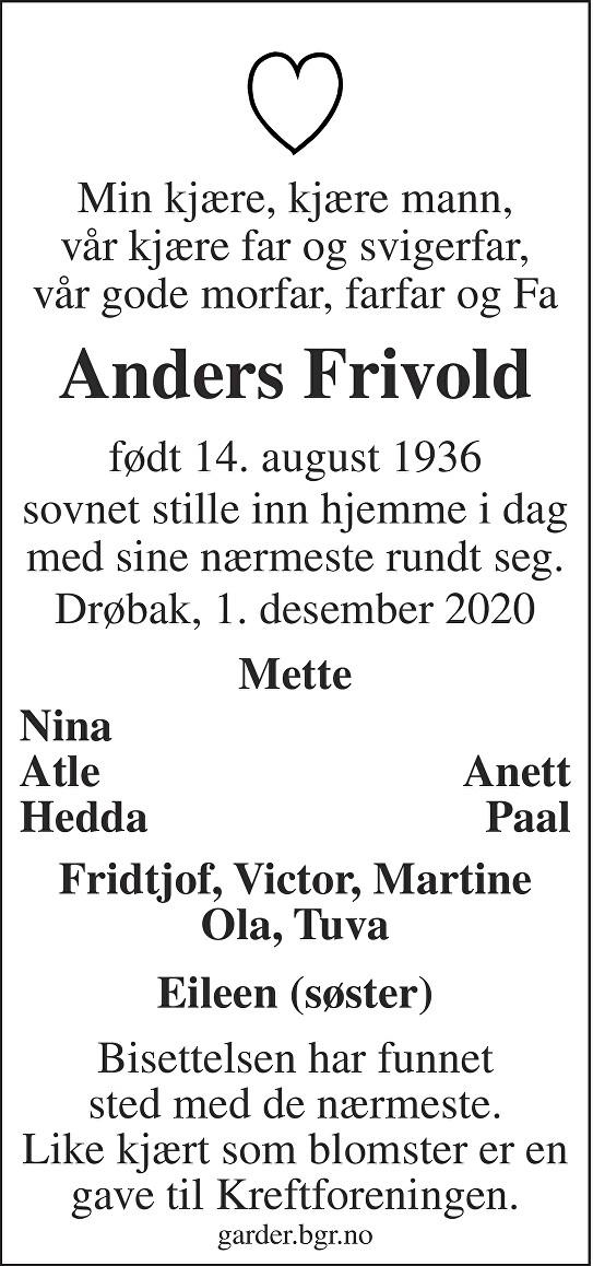 Anders Frivold Dødsannonse