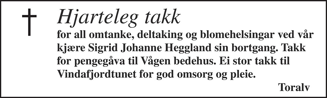 Sigrid Johanne Heggland Dødsannonse