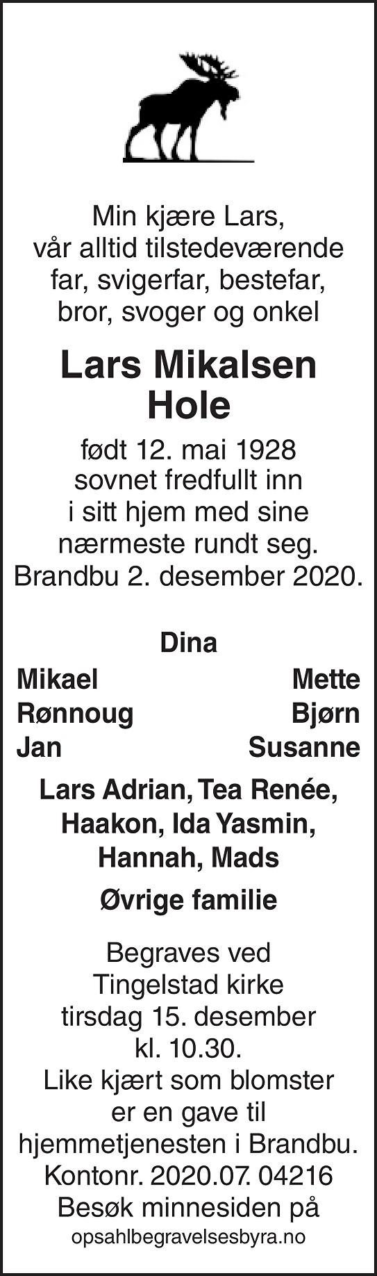 Lars  Mikalsen Hole Dødsannonse