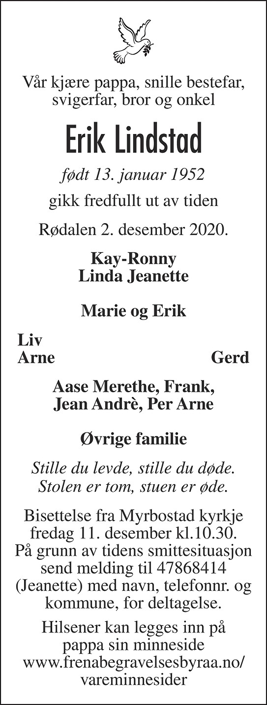 Erik Lindstad Dødsannonse