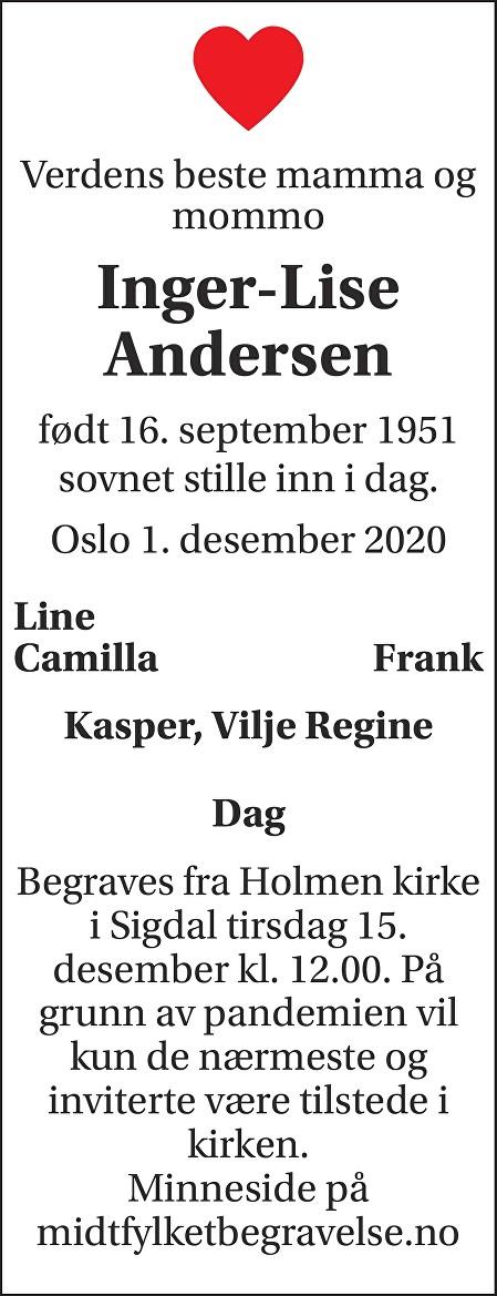 Inger-Lise Andersen Dødsannonse