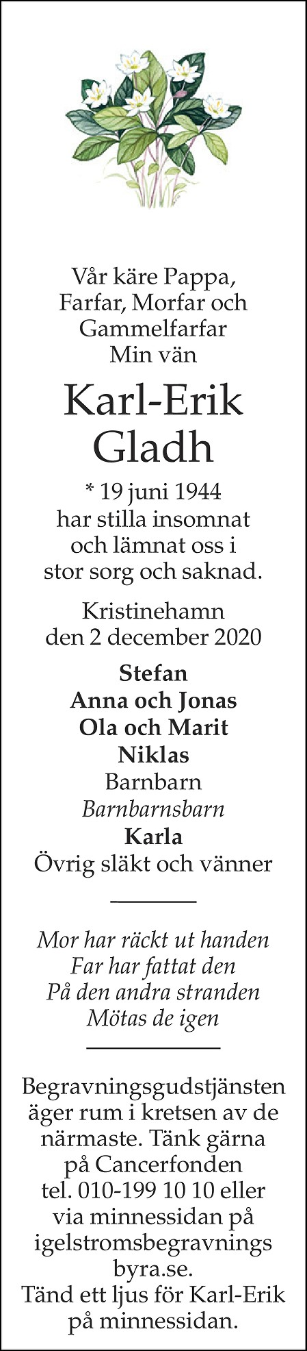 Karl-Erik Gladh Death notice
