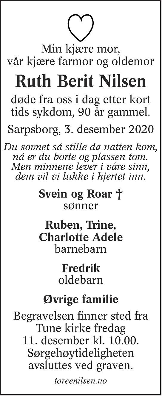 Ruth Berit Nilsen Dødsannonse