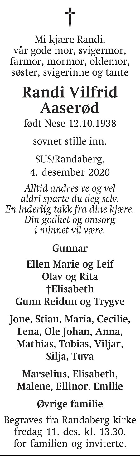 Randi Vilfrid Aaserød Dødsannonse