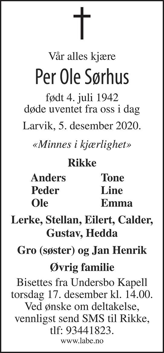 Per Ole Sørhus Dødsannonse