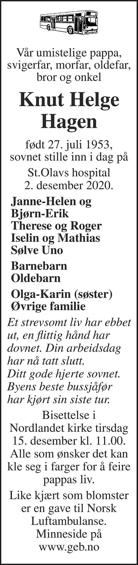 Knut Helge Hagen Dødsannonse