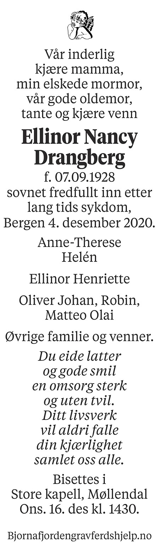 Ellinor Nancy Drangberg Dødsannonse