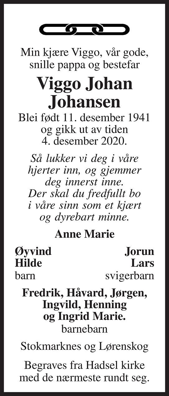 Viggo Johan Johansen Dødsannonse