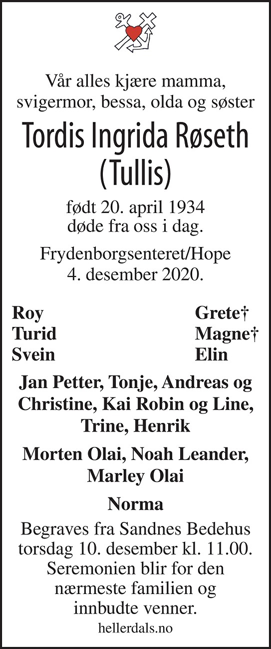 Tordis Ingrida Røseth Dødsannonse