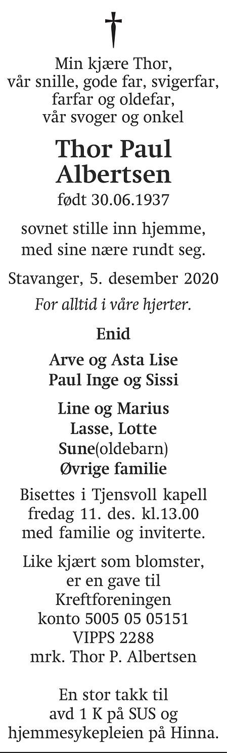 Thor Paul Albertsen Dødsannonse