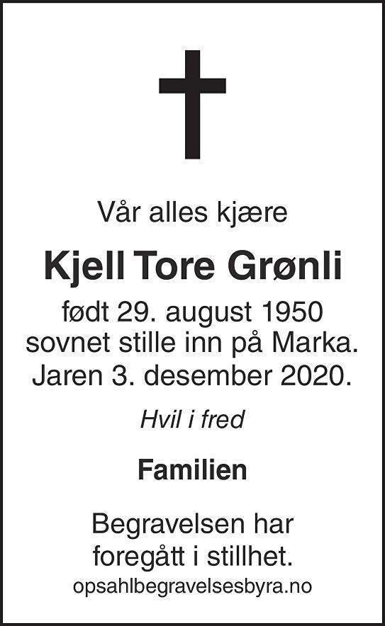 Kjell Tore Grønli Dødsannonse