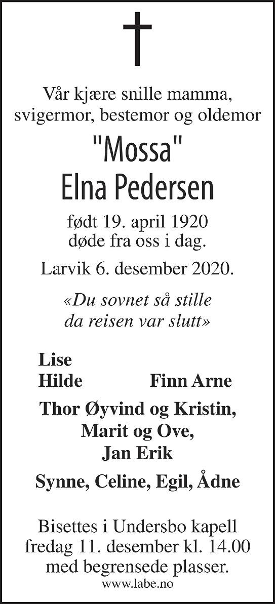 Elna Pedersen Dødsannonse
