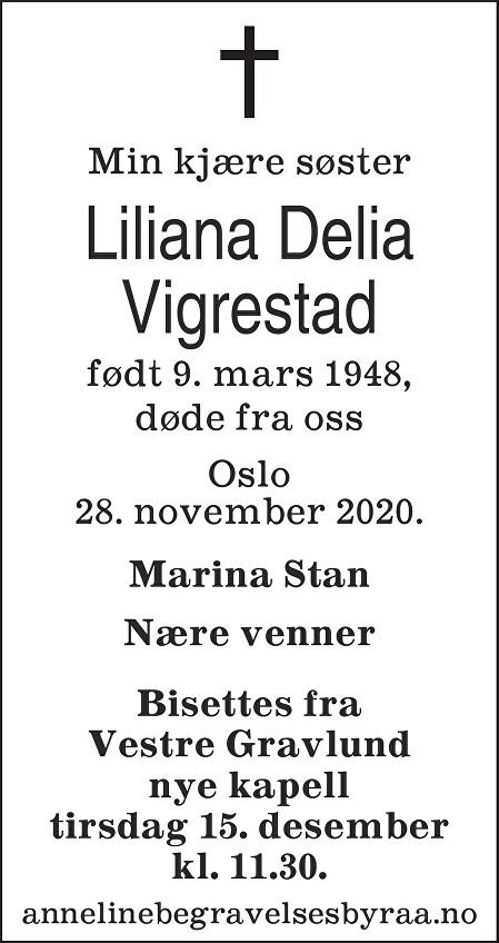 Liliana Delia Vigrestad Dødsannonse
