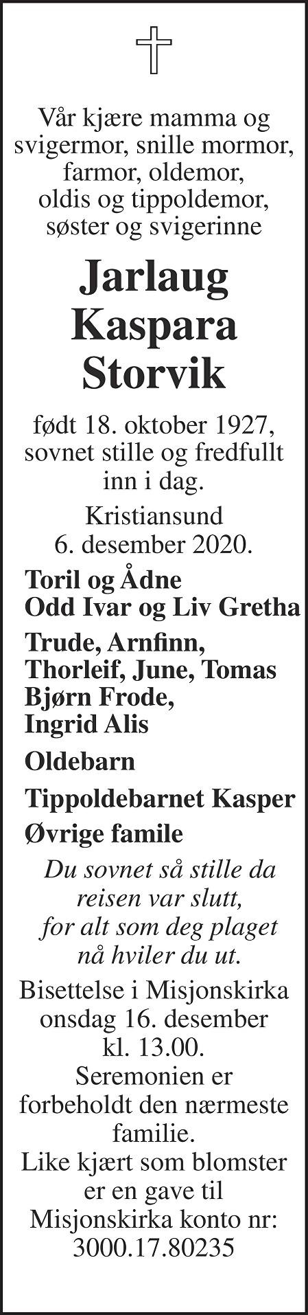 Jarlaug Kaspara Storvik Dødsannonse
