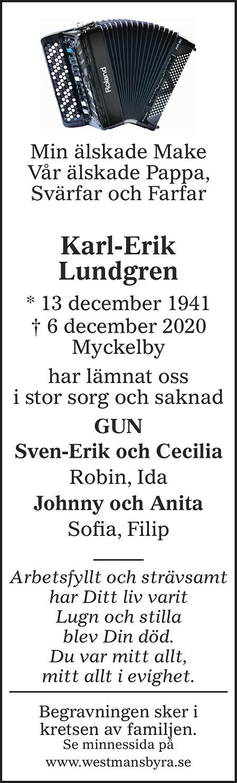 Karl-Erik Lundgren Death notice