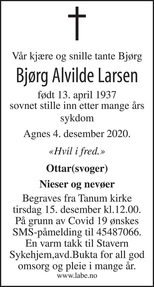 Bjørg Alvilde Larsen Dødsannonse