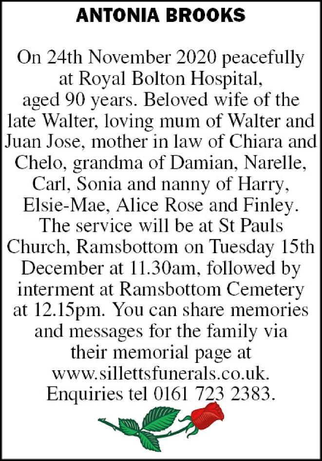 Antonia Brooks Death notice