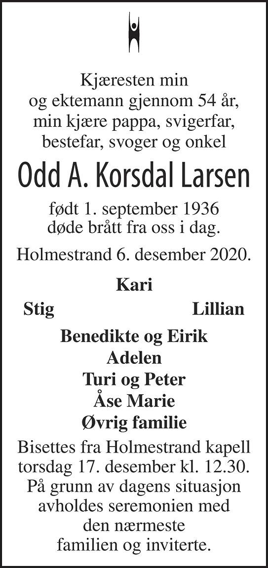 Odd Arne  Korsdal Larsen Dødsannonse