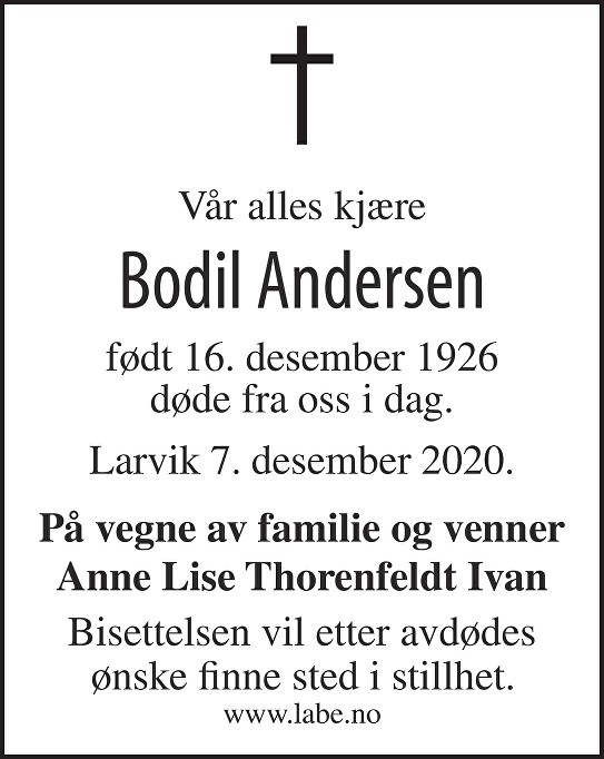 Bodil Andersen Dødsannonse