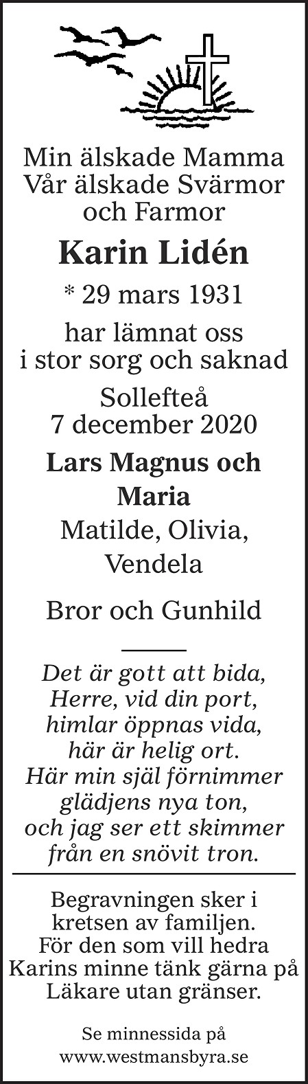 Karin Lidén Death notice