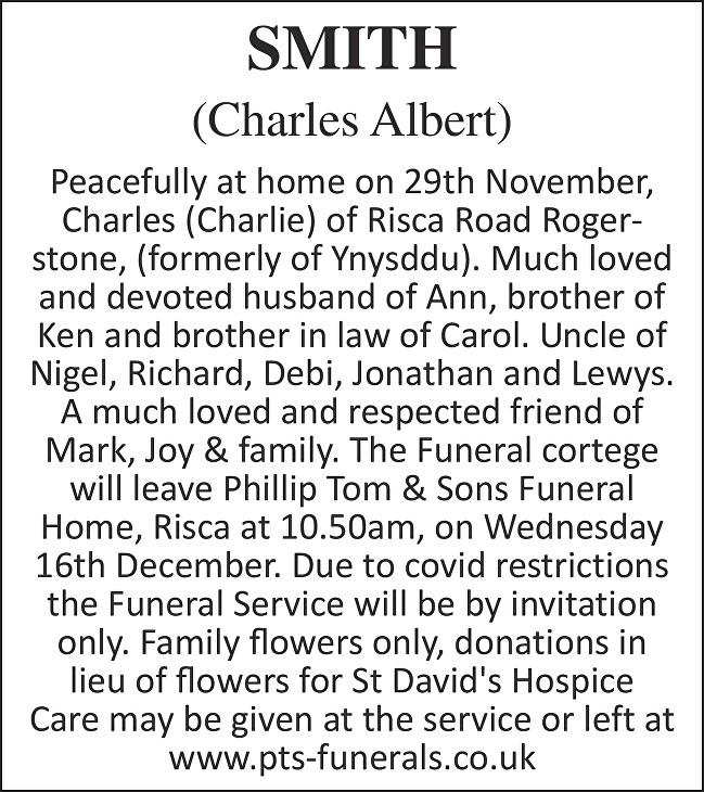 Charles Albert Smith Death notice