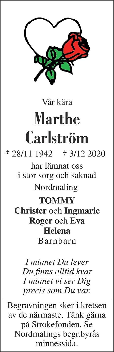 Marthe Carlström Death notice