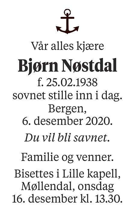Bjørn Nøstdal Dødsannonse