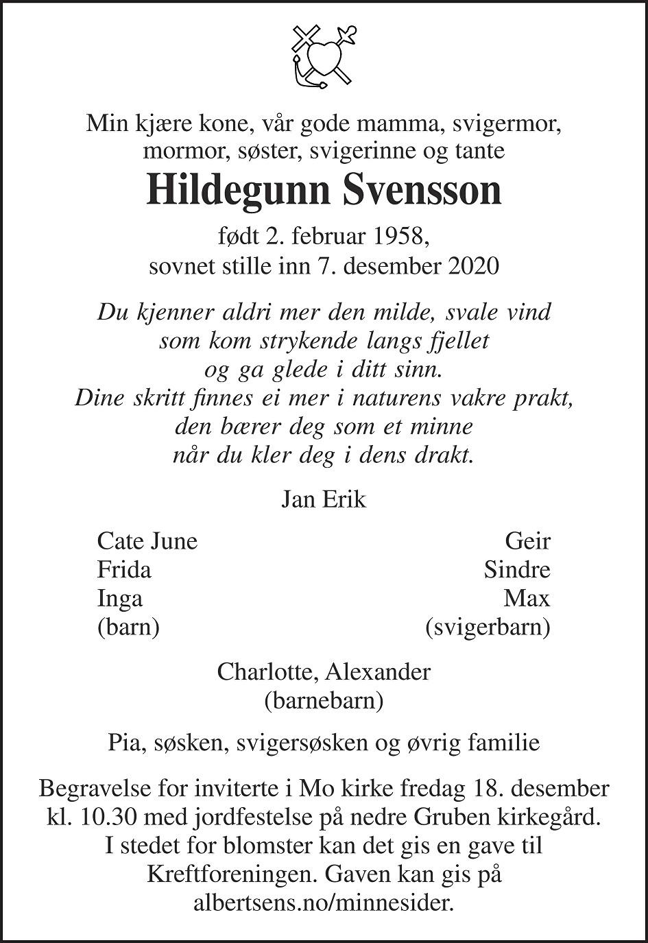Hildegunn Svensson Dødsannonse