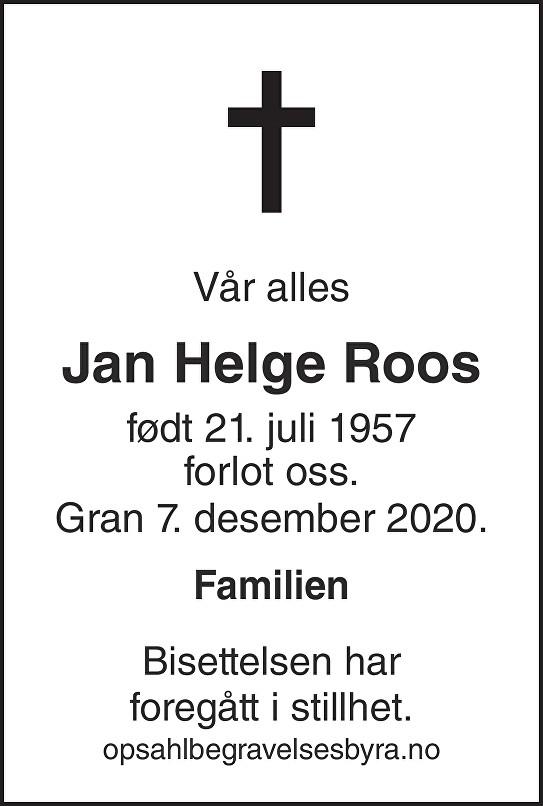 Jan Helge Roos Dødsannonse