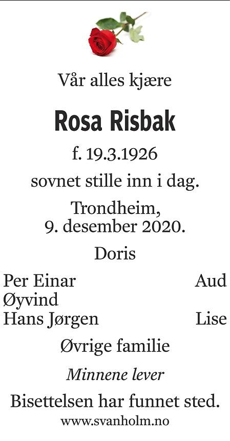 Rosa Risbak Dødsannonse